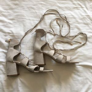 Cute gray lace-up high heals